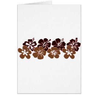 Cool brown hibiscus design greeting card