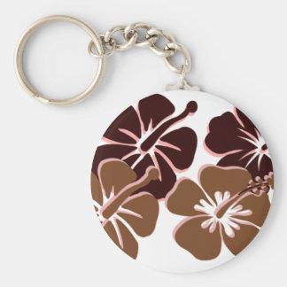 Cool brown hibiscus design key chain