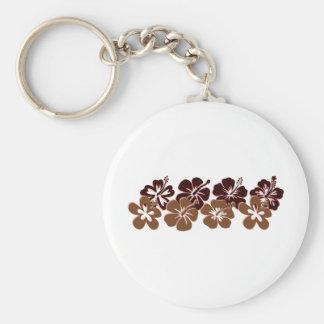 Cool brown hibiscus design keychain