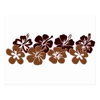 Cool brown hibiscus design postcard