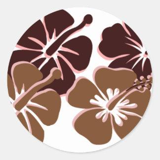 Cool brown hibiscus design round stickers