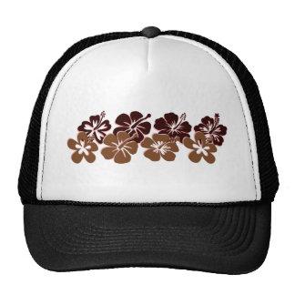 Cool brown hibiscus design trucker hat