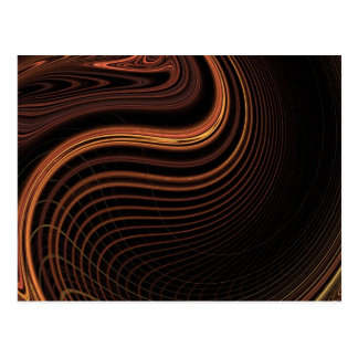 Cool brown light swirl abstract design postcard