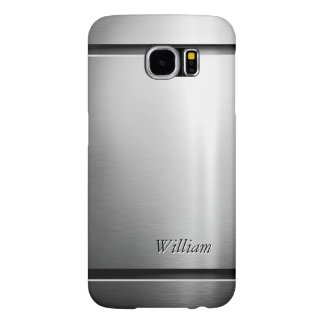 Cool Brush Metal Stainless Steel Look with Name Samsung Galaxy S6 Case