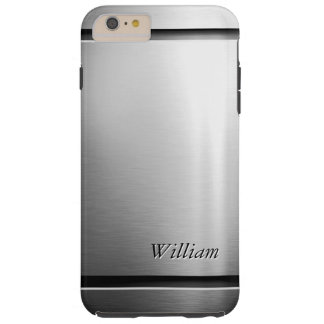 Cool Brush Metal Stainless Steel Look with Name Tough iPhone 6 Plus Case