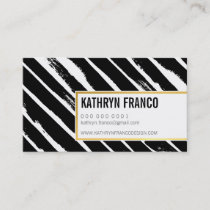 COOL BRUSH STROKE bold cute painted black gold Business Card