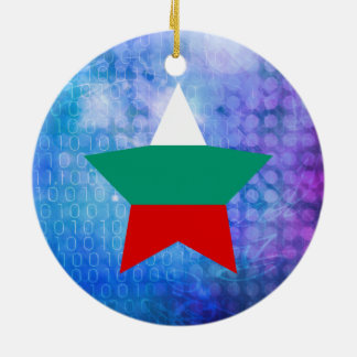 Cool Bulgaria Flag Star Double-Sided Ceramic Round Christmas Ornament