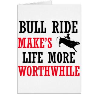 cool bull ride design greeting card