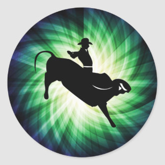 Cool Bull Rider Silhouette Round Stickers