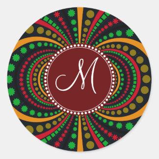 Cool Burgundy Monogram Earth Tones Funky Pattern Classic Round Sticker