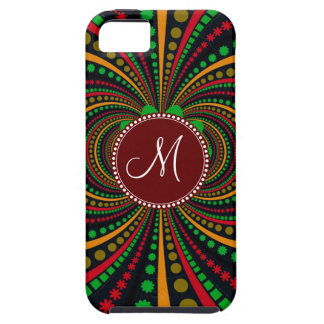Cool Burgundy Monogram Earth Tones Funky Pattern iPhone 5 Cover