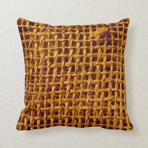 Cool burlap look texture throw pillows zazzle for Cool couch pillows