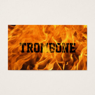 Cool Burning Fire Trombone Business Card