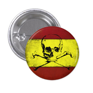 Cool Button with Vintage Skull Flag from Spain