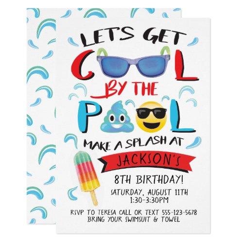 Cool by the Pool Emoji Boy Birthday Party Invitation