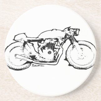 Cool Cafe Racer Motorcycle Drawing Sandstone Coaster