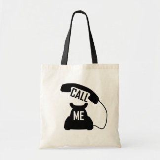 Cool Call me Black Vintage telephone Tote Bag