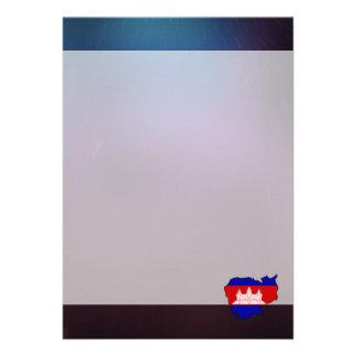 "Cool cambodia Flag Map 5"" X 7"" Invitation Card"