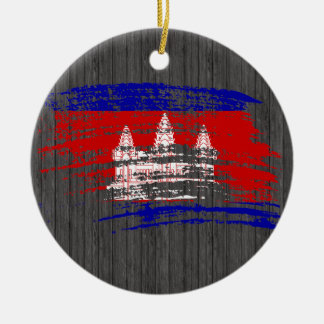 Cool Cambodian flag design Double-Sided Ceramic Round Christmas Ornament