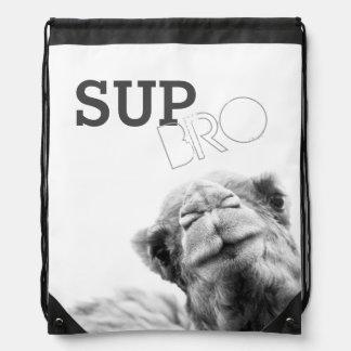 Cool Camel Kisses Sup Bro Drawstring Backpack