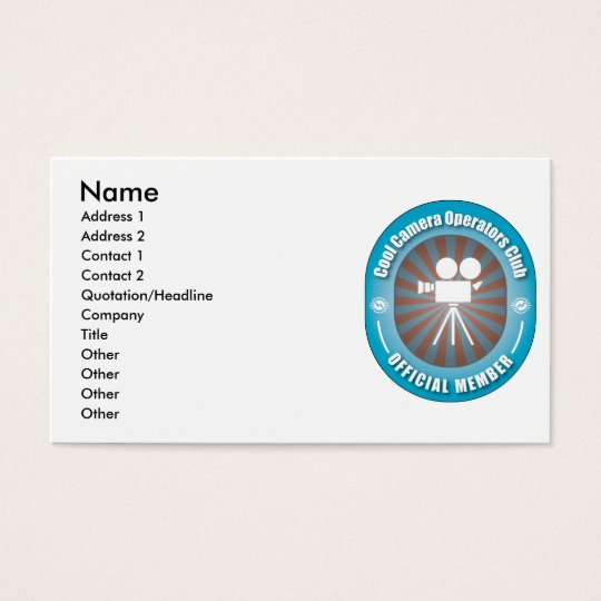 Cool Camera Operators Club Business Card