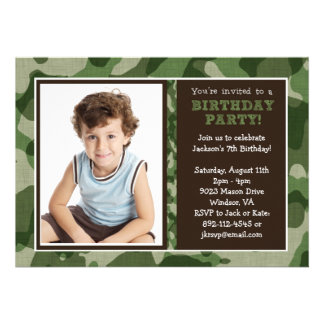 Cool Camo Party Invitation Cards