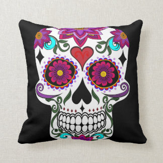 Cool candy skull throw pillow