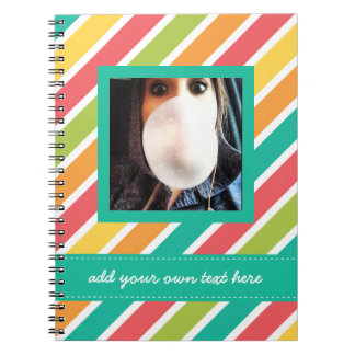 Cool Candy Stripes Personalized Instagram Photo Spiral Notebook