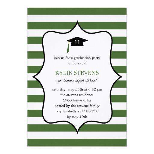 Cool Cap Graduation Invitation - Green