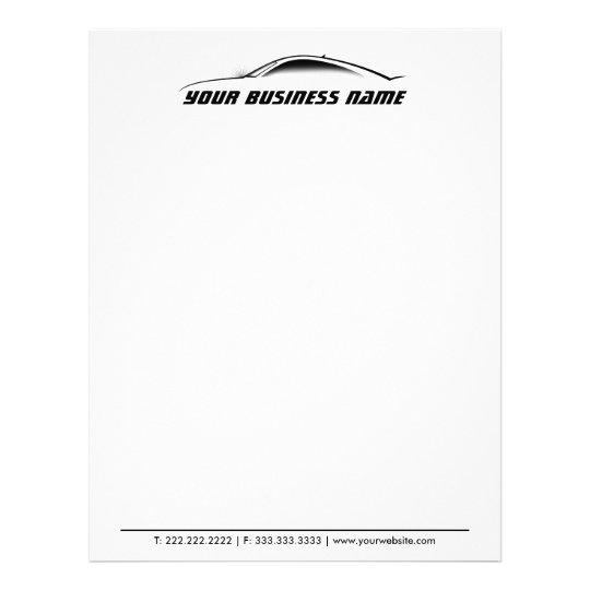 Cool Car Outline Auto Repair Business Letterhead Zazzle Com