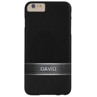 Cool Carbon Fiber Metal Belt Custom Name Barely There iPhone 6 Plus Case