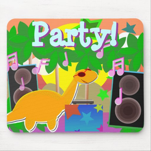 Cool Cartoon Dinosaur DJ Music Party Mousepad