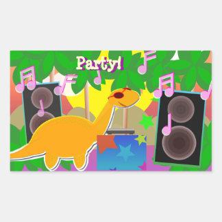 Cool Cartoon Dinosaur DJ Music Party Sticker