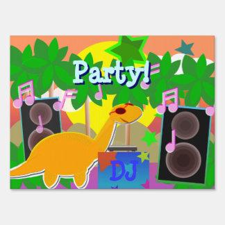 Cool Cartoon Dinosaur DJ Party Sign