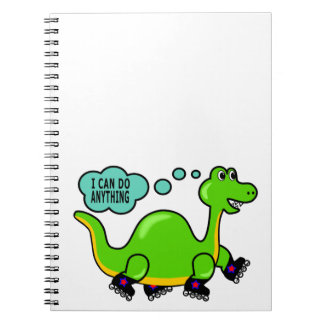 Cool Cartoon Dinosaur Skating to Success Notebook