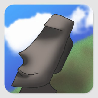 Cool Cartoon Easter Island Moai Head Square Sticker