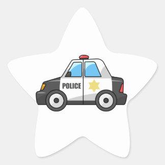 Cool Cartoon Police Car Star Sticker