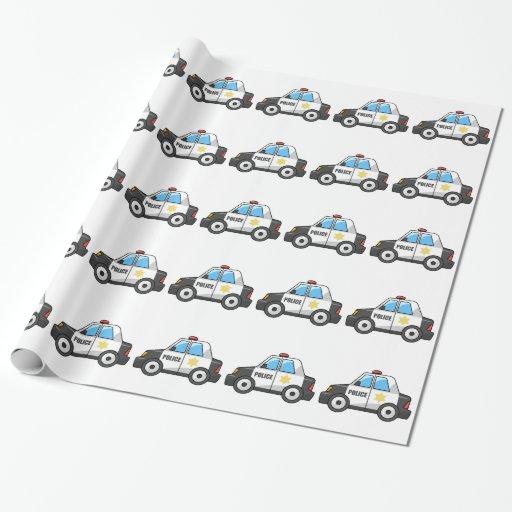 Cool Cartoon Police Car Gift Wrap