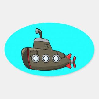 Cool Cartoon Submarine Oval Sticker