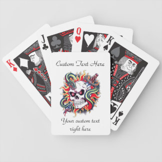Cool cartoon tattoo burning skull snake dagger bicycle playing cards