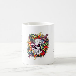 Cool cartoon tattoo burning skull snake dagger coffee mug