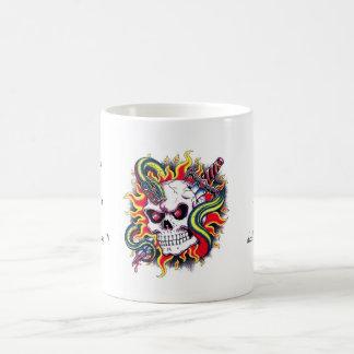 Cool cartoon tattoo burning skull snake dagger coffee mug