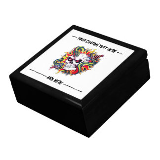 Cool cartoon tattoo burning skull snake dagger gift box