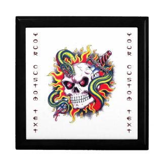 Cool cartoon tattoo burning skull snake dagger keepsake boxes