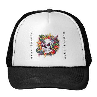 Cool cartoon tattoo burning skull snake dagger trucker hat