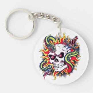 Cool cartoon tattoo burning skull snake dagger keychain