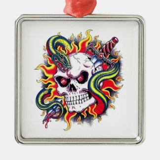Cool cartoon tattoo burning skull snake dagger metal ornament