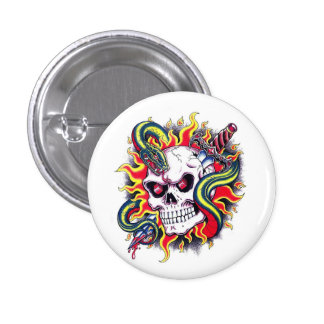 Cool cartoon tattoo burning skull snake dagger pinback button