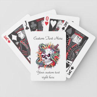 Cool cartoon tattoo burning skull snake dagger bicycle playing cards