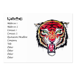 Cool cartoon tattoo symbol angry feral tiger large business cards (Pack of 100)